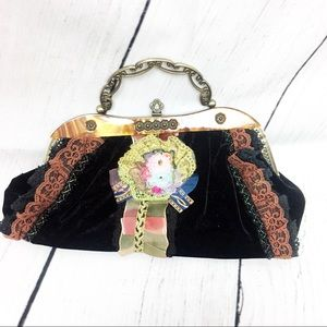 Nicole Lee Black velvet and embroidered handbag